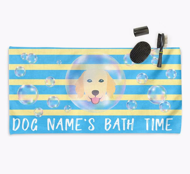 'Bathtime' Personalized Towel for your Flatcoat