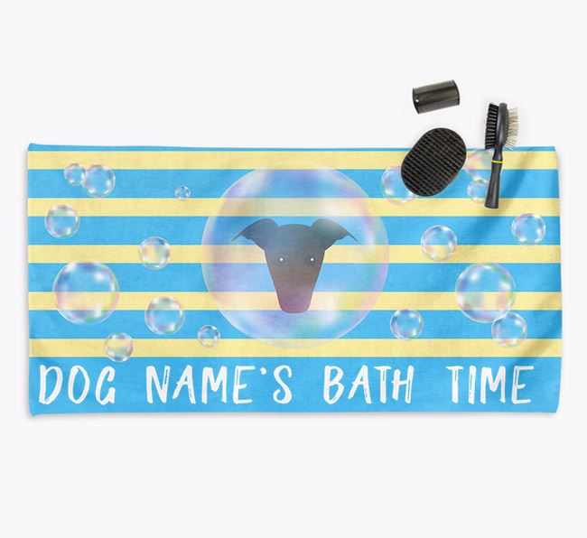 'Bathtime' Personalized Towel for your Greyhound