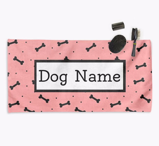 'Bone Pattern' Personalised Dog Towel for your Flatcoat