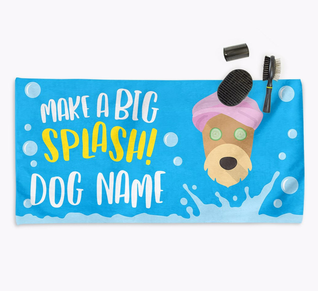 Personalised 'Make a BIG Splash' Towel for your Airedale