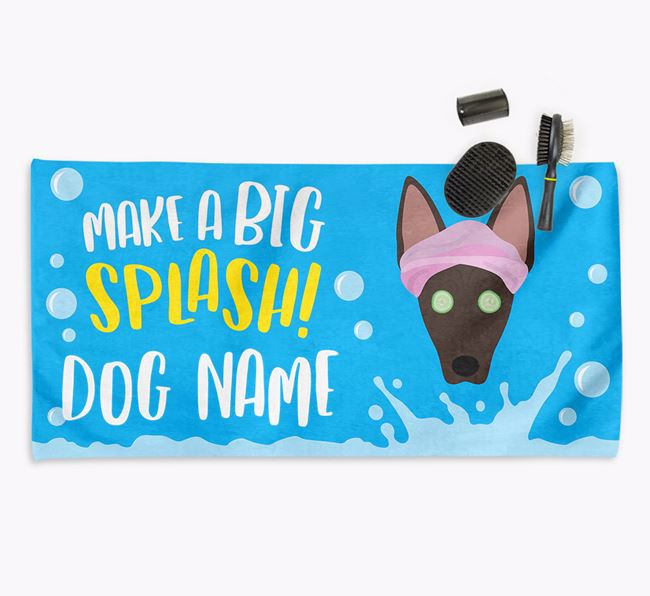 Personalised 'Make a BIG Splash' Towel for your American Hairless