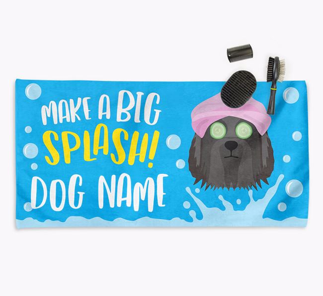 Personalised 'Make a BIG Splash' Towel for your Bearded Collie