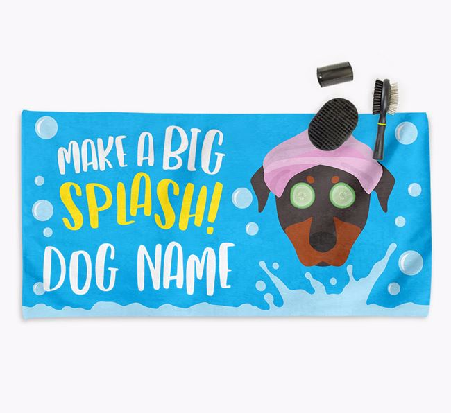 Personalised 'Make a BIG Splash' Towel for your Beauceron