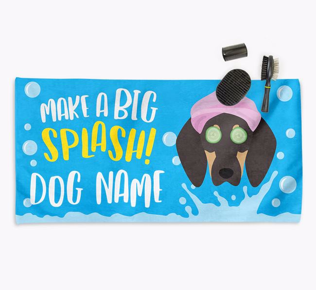 Personalised 'Make a BIG Splash' Towel for your Coonhound