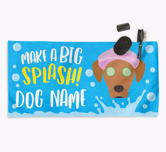 Personalised 'Make a BIG Splash' Towel for your Blue Lacy