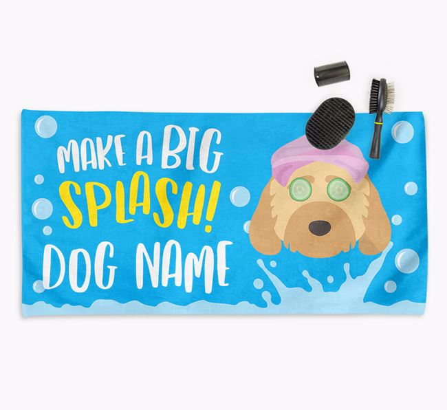 Personalised 'Make a BIG Splash' Towel for your Cockapoo