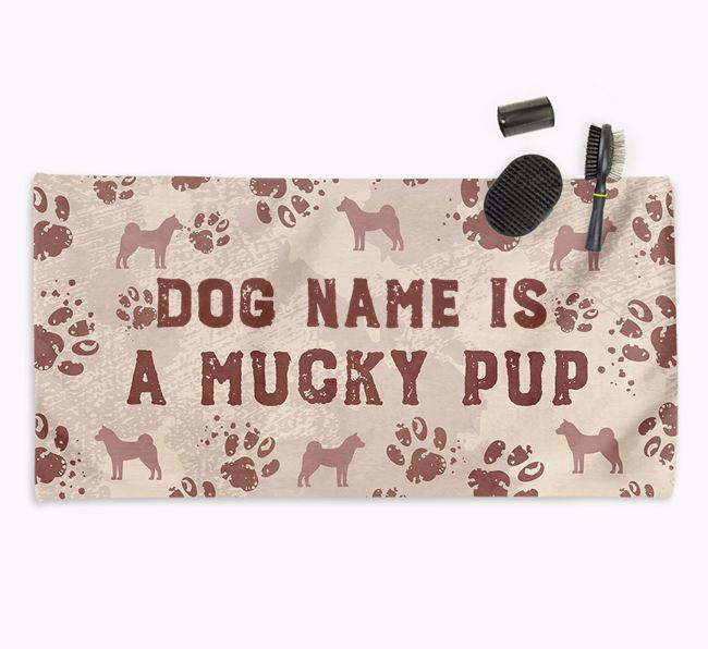 'Mucky Pup' Personalised Towel for your Akita