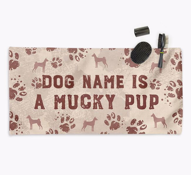 'Mucky Pup' Personalised Towel for your Basenji
