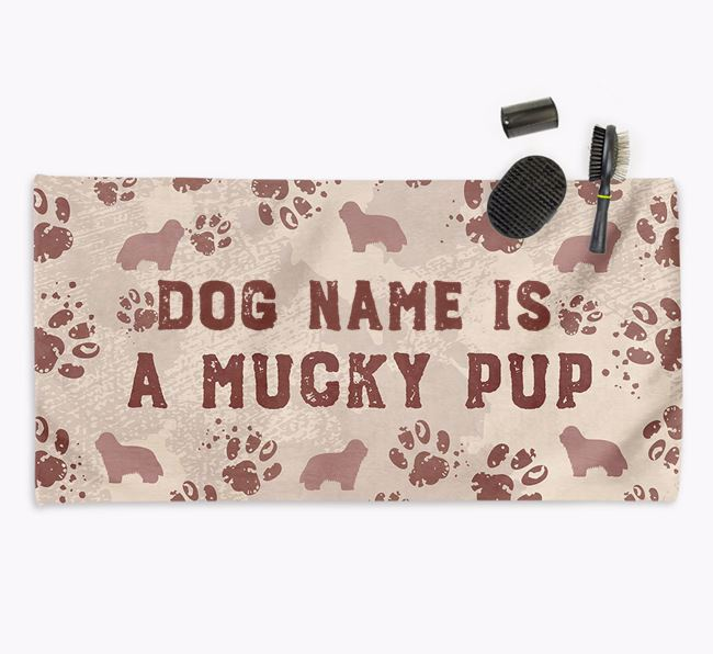 'Mucky Pup' Personalised Towel for your Bearded Collie