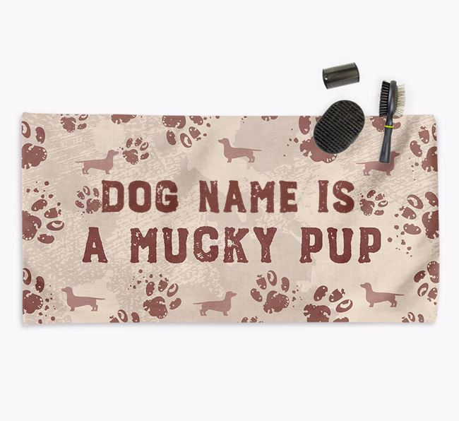 'Mucky Pup' Personalised Towel for your Dachshund