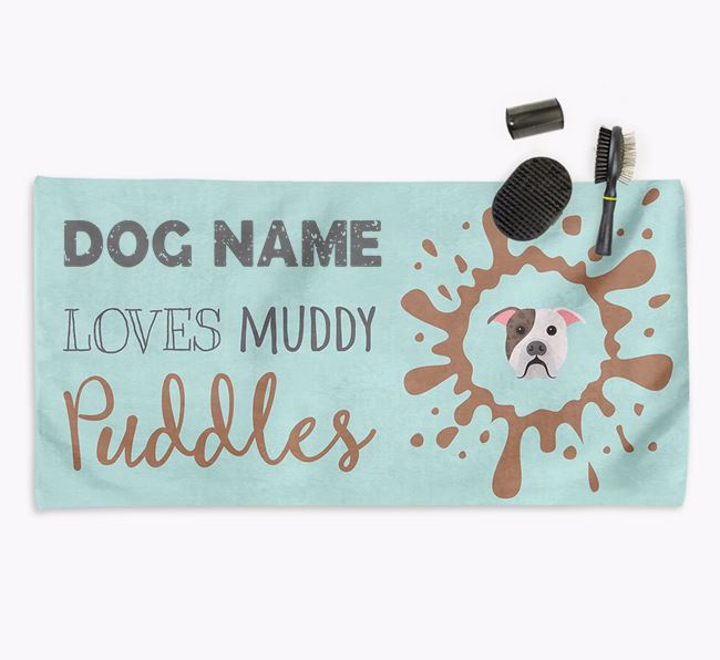 'Muddy Puddles' Personalised Dog Towel for your American Bulldog