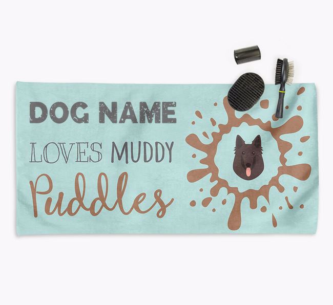 'Muddy Puddles' Personalised Dog Towel for your Belgian Shepherd