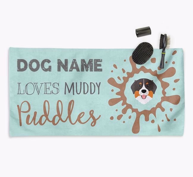 'Muddy Puddles' Personalised Dog Towel for your Bernese