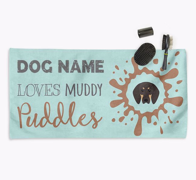 'Muddy Puddles' Personalised Dog Towel for your Coonhound