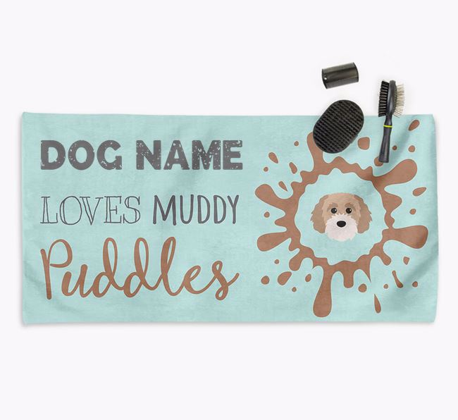 'Muddy Puddles' Personalised Dog Towel for your Cavapoochon