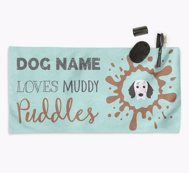 'Muddy Puddles' Personalised Dog Towel for your English Setter