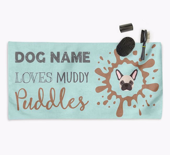 'Muddy Puddles' Personalised Dog Towel for your Frenchie