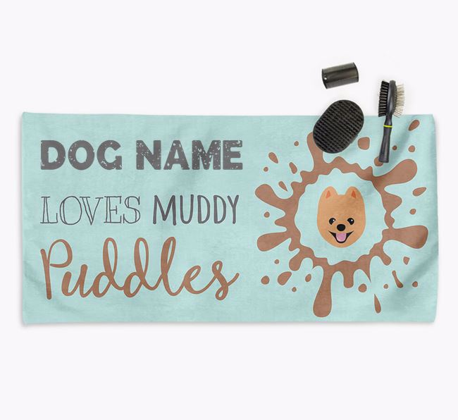 'Muddy Puddles' Personalised Dog Towel for your Pomeranian