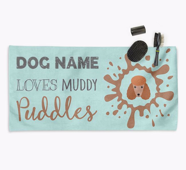 'Muddy Puddles' Personalised Dog Towel for your Poodle