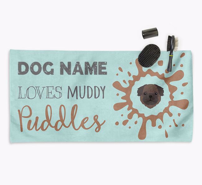 'Muddy Puddles' Personalised Dog Towel for your Pug
