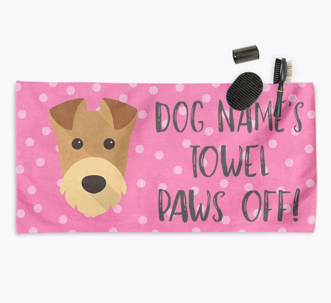 'Paws Off' Dog Towel for your Airedale