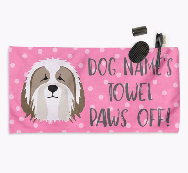 'Paws Off' Dog Towel for your Bearded Collie