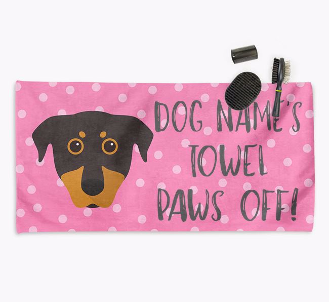 'Paws Off' Dog Towel for your Beauceron