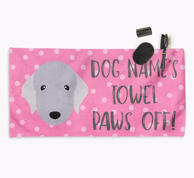 'Paws Off' Dog Towel for your Bedlington