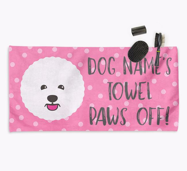 'Paws Off' Dog Towel for your Bichon Frise