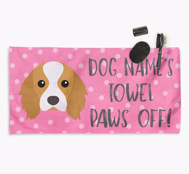 'Paws Off' Dog Towel for your Cavalier King Charles