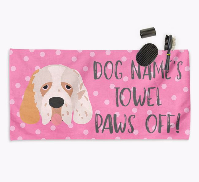 'Paws Off' Dog Towel for your Clumber Spaniel