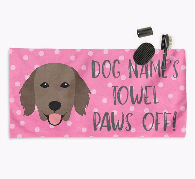 'Paws Off' Dog Towel for your Flatcoat