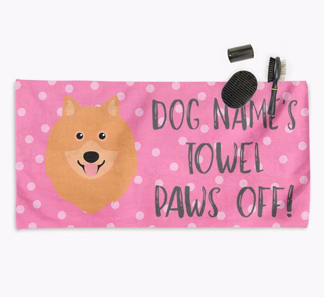 'Paws Off' Dog Towel for your Keeshond