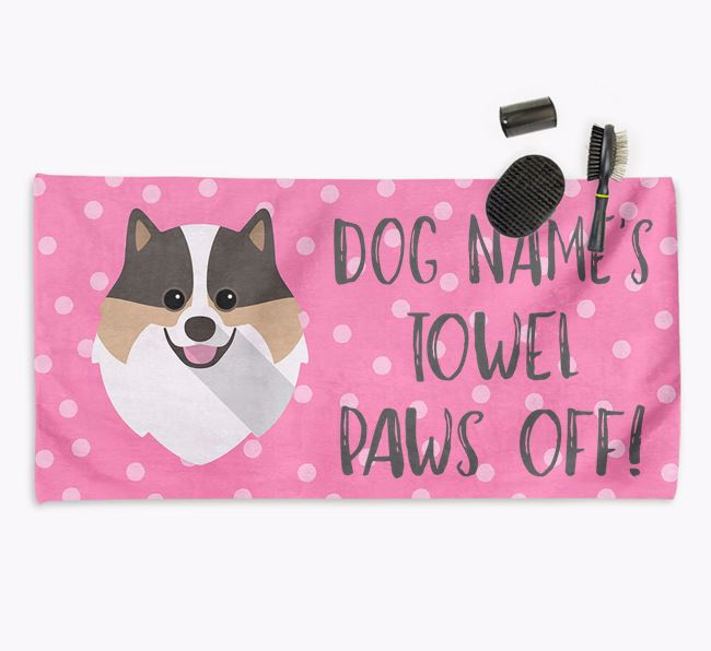 'Paws Off' Dog Towel for your Pomeranian