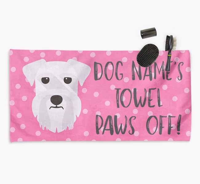 'Paws Off' Dog Towel for your Schnauzer