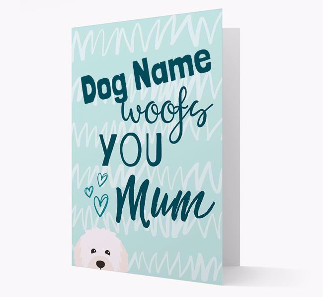 Personalised Bolognese 'woofs you Mum' Card