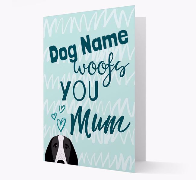 Personalised Braque D'Auvergne 'woofs you Mum' Card