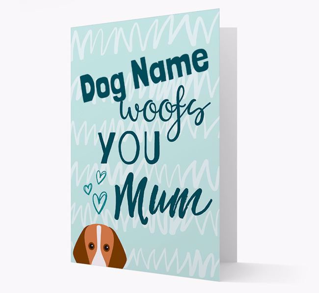 Personalised Foxhound 'woofs you Mum' Card