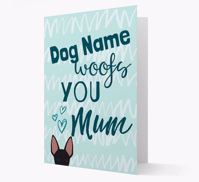 Personalised Mexican Hairless 'woofs you Mum' Card
