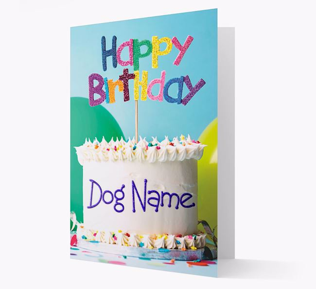 Personalized 'Happy Birthday Cake' Card for your Bull Pei