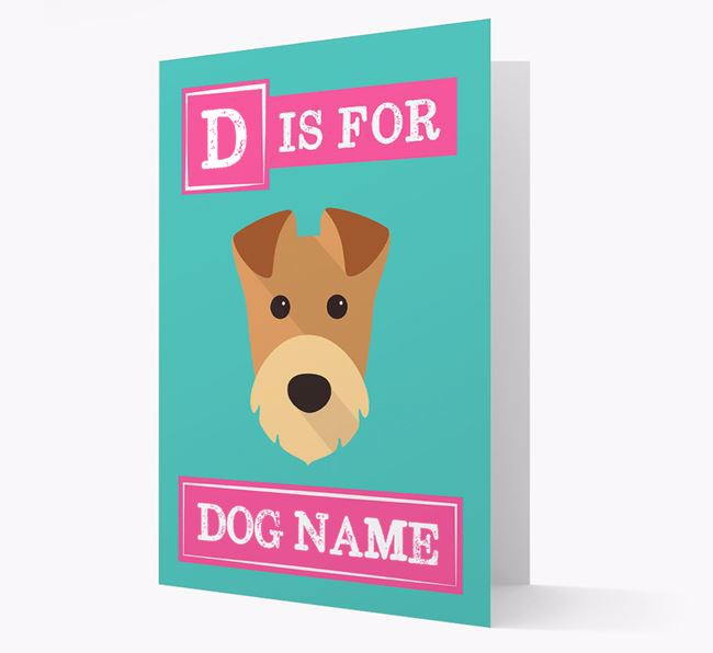 'Letter and Name' Card for your Airedale Terrier