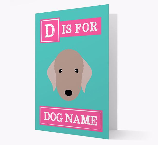 'Letter and Name' Card for your Bedlington Terrier
