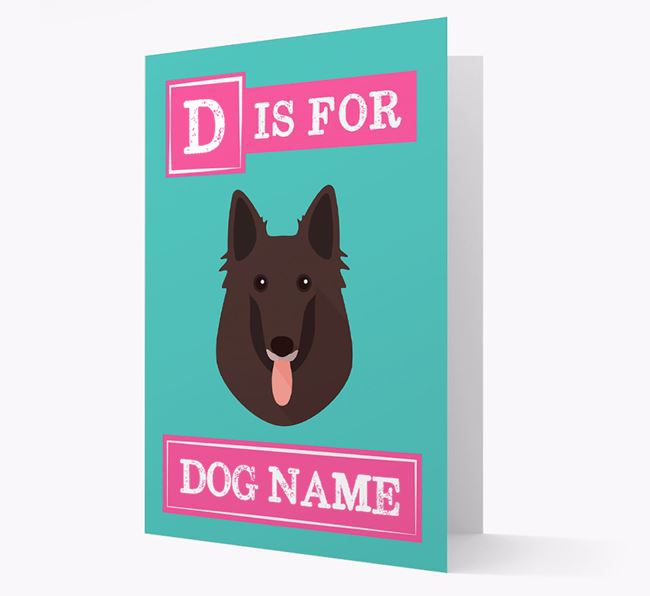 'Letter and Name' Card for your Belgian Groenendael