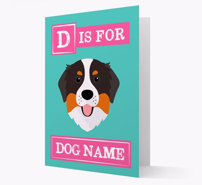 'Letter and Name' Card for your Bernese Mountain Dog