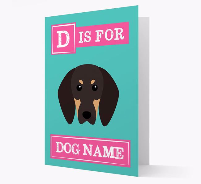 'Letter and Name' Card for your Black and Tan Coonhound