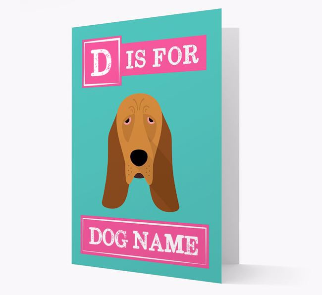 'Letter and Name' Card for your Bloodhound