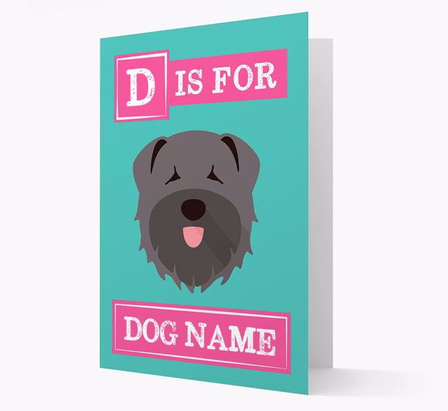 'Letter and Name' Card for your Bouvier Des Flandres