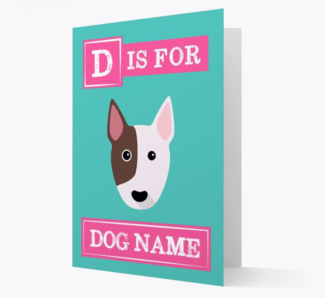 'Letter and Name' Card for your Bull Terrier