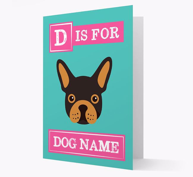 'Letter and Name' Card for your French Bulldog
