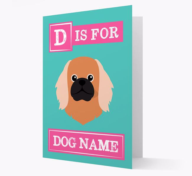 'Letter and Name' Card for your Pekingese